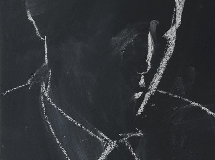 Rafał Bujnowski, //#1//, z cyklu //Arsoniści//, 2013, kreda na tablicy, 41,7 × 31,5 cm