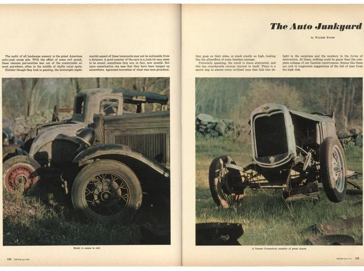 "Walker Evans, ""The Auto Junkyard,"" //Fortune//, April 1962. Courtesy of The Metropolitan Museum of Art"