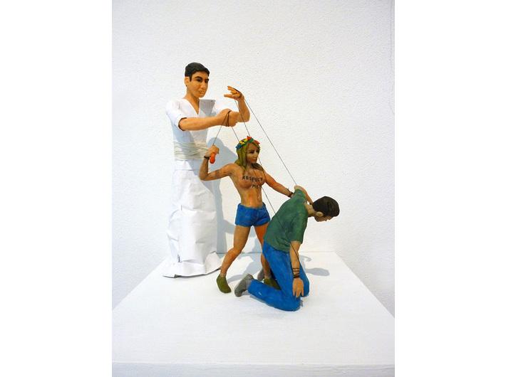 Krzysztof Korszeń, //A Feminist Killing a Man//, 2014, sculpture