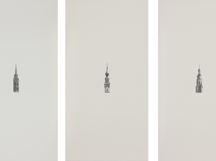 Shinji Ogawa, //Peace Of Mind (portable) I–III//, 2011, pencil on paper, 57.5 × 29.3 cm
