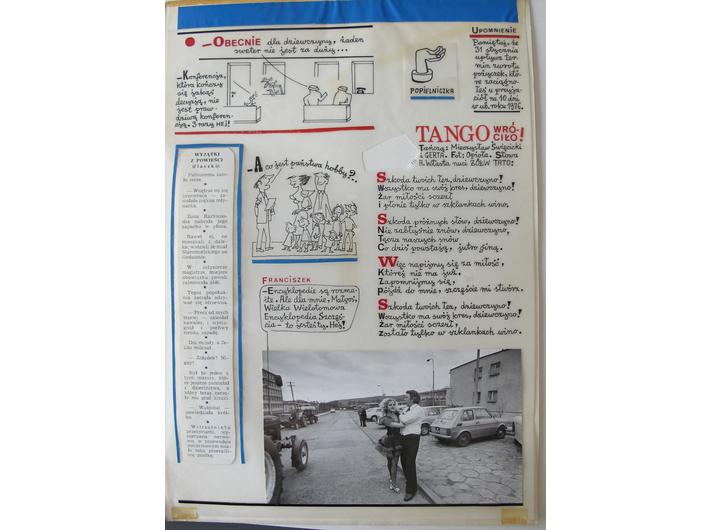 """Projekty rubryki //Franciszek i inni// autorstwa Mariana Eilego, ukazującej się w czasopiśmie """"Szpilki"""", lata 70., Archiwum MOCAK-u"""