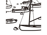 Julian Opie, //Boats.// 2014, vinyl on wall, variable site specific, courtesy of the artist
