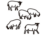 Julian Opie, //Sheep.// 2014, vinyl on wall, variable site specific, courtesy of the artist