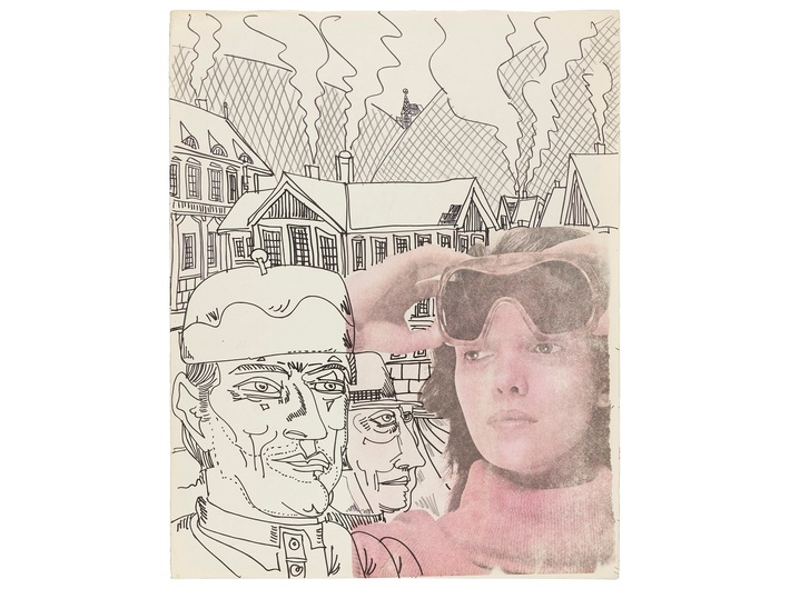 Edward Dwurnik, //Nice Goggles//, from the series //Szczawnica//, 1975, mixed technique, 51.2 × 40.3 cm, courtesy of the artist