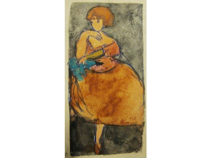 Alina Dawidowicz, akwarela / papier, 9,5 × 5,5 cm, kolekcja prywatna