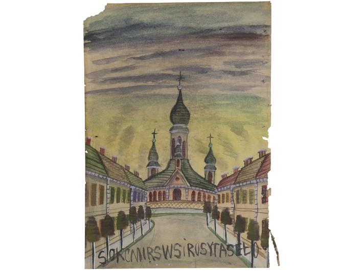 Nikifor Krynicki, lata 60., gwasz / papier, 29,5 × 20,8 cm, kolekcja prywatna