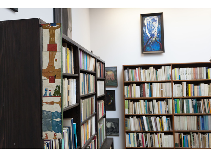Mieczyslaw Porebski's Library, in the photograph visible a framgement of Jerzy Nowosielski's work //Study with Variantions//, 1960, oil / wood,  60 × 11 cm, photo: Rafal Sosin