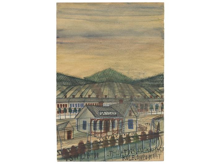 Nikifor Krynicki, lata 30.,  akwarela / papier, 29,3 × 19,8 cm, kolekcja prywatna