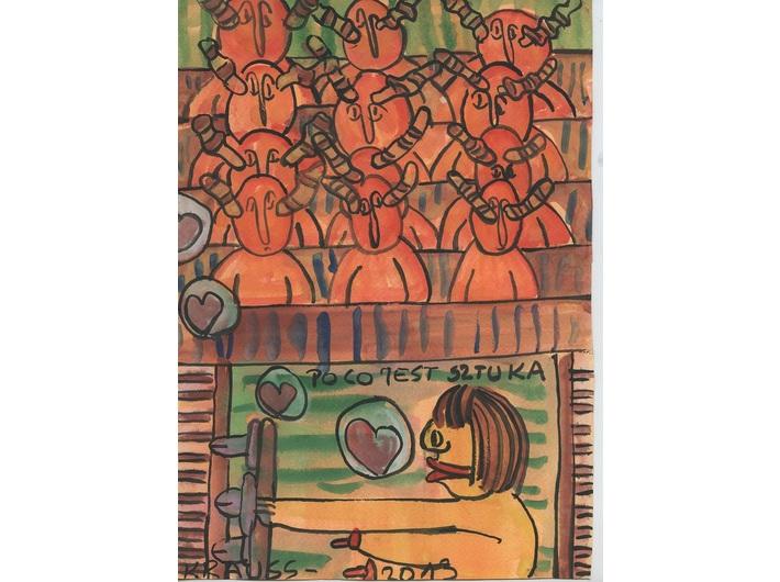 Marek Krauss, //Studia//, z cyklu //Po co jest sztuka, życie rodzinne//, 2013, gwasz / karton, 29,7 × 21 cm, Kolekcja MOCAK-u