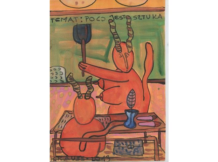 Marek Krauss, //Szkoła//, z cyklu //Po co jest sztuka, życie rodzinne//, 2013, gwasz / karton, 29,7 × 21 cm, Kolekcja MOCAK-u