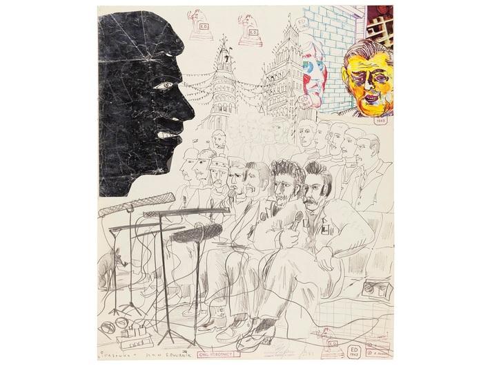 Edward Dwurnik, //Prasówka//, z cyklu //Robotnicy//, 1980, technika mieszana, 58,4 × 48,9 cm, dzięki uprzejmości artysty