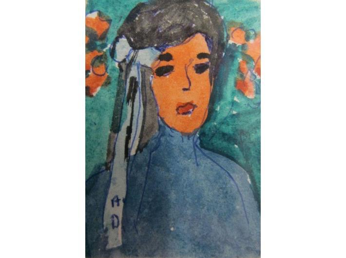 Alina Dawidowicz, akwarela / papier, 6,4 × 4,7 cm, kolekcja prywatna
