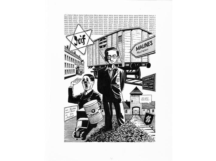 Michel Kichka, //Drugie pokolenie. Czego nie powiedziałem swojemu ojcu (Deuxième génération. Ce que je n'ai pas dit à mon père)//, 2012, komiks, 35,5 × 43,3 cm, dzięki uprzejmości Dargaud-Lombard-Dupuis Paris