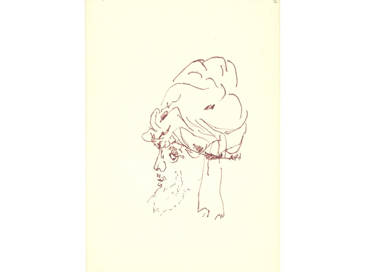 Zbigniew Herbert, circa 1996, felt-tip pen / paper, 24 × 16 cm, from the collection of the National Library of Poland in Warsaw