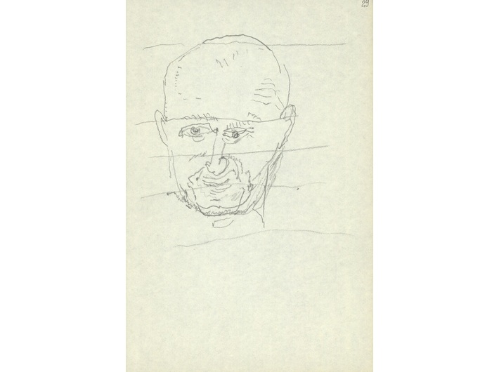 Zbigniew Herbert, circa 1995, pencil / paper, 18 × 12 cm, from the collection of the National Library of Poland in Warsaw