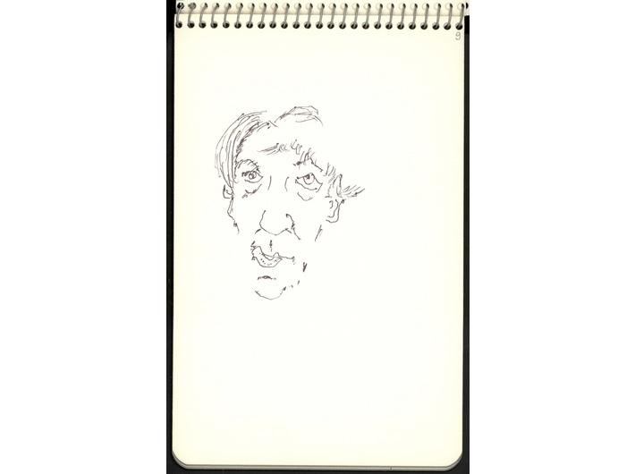Zbigniew Herbert, circa 1990, felt-tip pen / paper, 19 × 12.5 cm, from the collection of the National Library of Poland in Warsaw