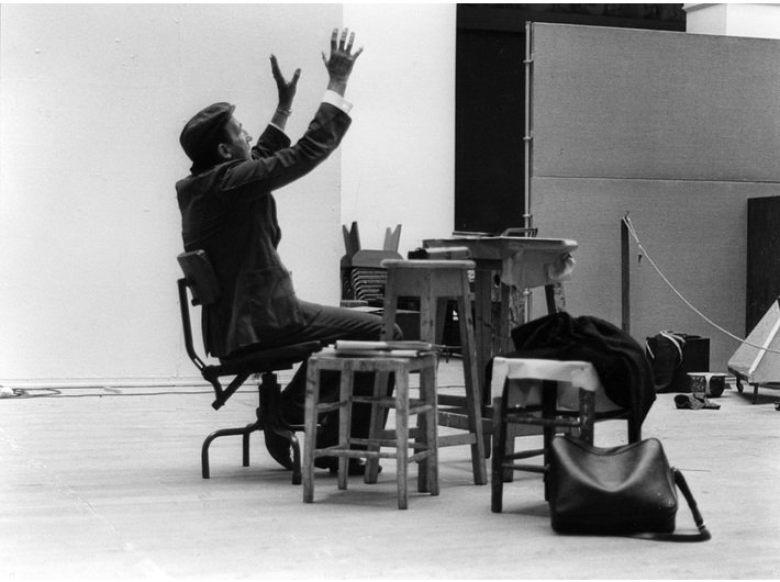 Tadeusz Kantor in rehearsal of //The Dead Class// at the Royal College of Art in Edinburg, 1976, courtesy of the Demarco European Art Foundation