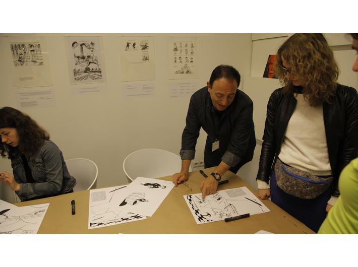 Warsztaty z Michelem Kichką podczas Nocy Muzeów, 15.5.2015, Biblioteka MOCAK-u