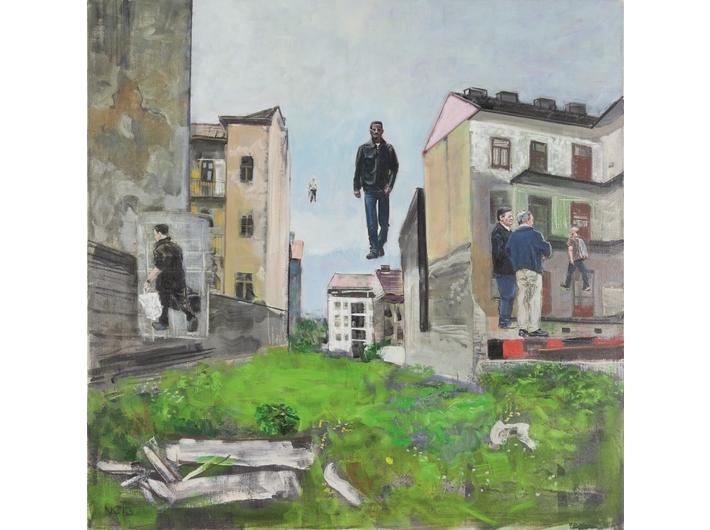 Csaba Nemes, //Z dala od morza//, 2013, z cyklu //Imię ojca: Csaba Nemes//, olej / płótno, 150 × 150, Kolekcja MOCAK-u