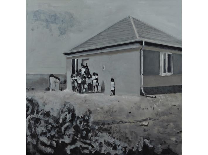 Csaba Nemes, //Rodzina Romów//, 2009, z cyklu //Imię ojca: Csaba Nemes//, olej / płótno, 200 × 200 cm, courtesy Knoll Galleries Vienna & Budapest