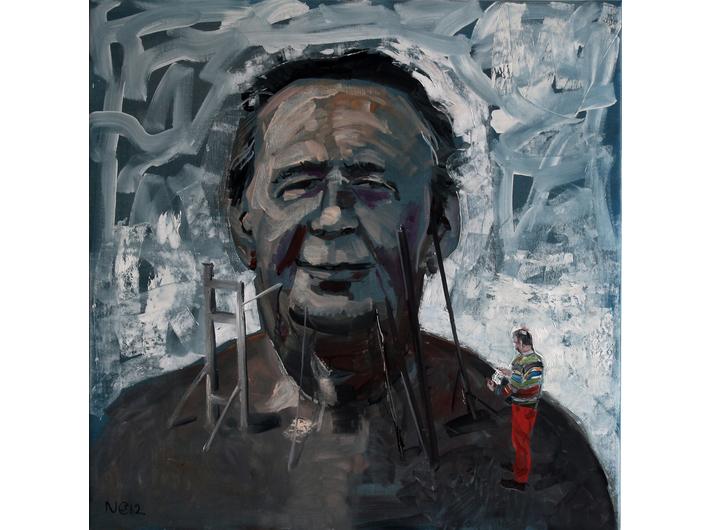 Csaba Nemes, //Autorytet//, 2012, z cyklu //Imię ojca: Csaba Nemes//, olej / płótno, 100 × 100 cm, courtesy Knoll Galleries Vienna & Budapest
