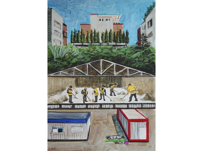 Csaba Nemes, Aktywa zamrożone, 2015, z cyklu //Aktywa zamrożone//, akryl / drewno, 70 × 50 cm, courtesy Knoll Galleries Vienna & Budapest