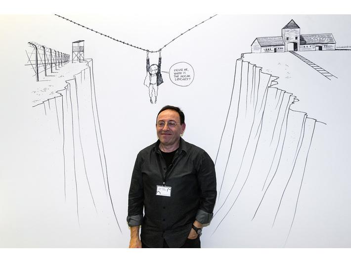 Michel Kichka podczas Nocy Muzeów w MOCAK-u, 15.5.2015, Biblioteka MOCAK-u
