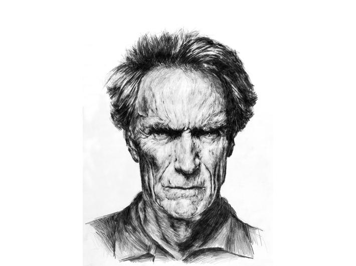 Tomasz Wiatr, //Clint Eastwood//, 2013, ołówek / papier | pencil / paper, 59 × 42 cm. Courtesy T. Wiatr