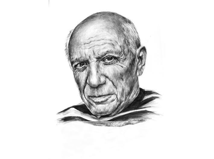 Tomasz Wiatr, //Picasso//, 2013, ołówek / papier | pencil / paper, 59 × 42 cm. Courtesy T. Wiatr