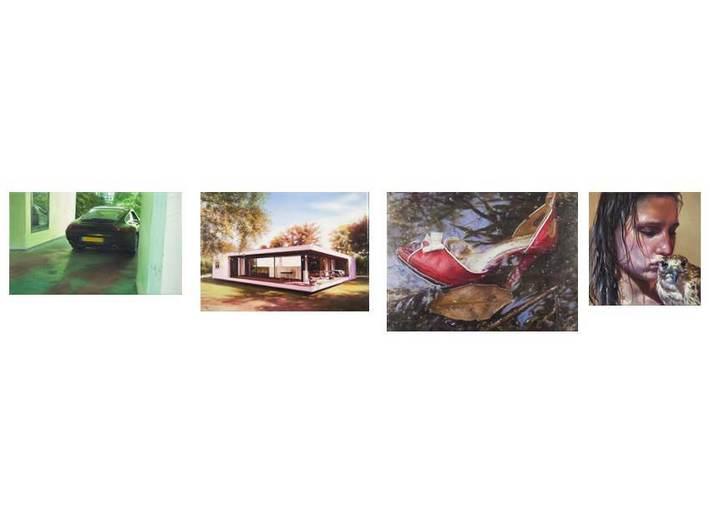 Robert Devriendt, cykl //Unsolved Case 3//, 2013-2014, olej / płótno, 10 x 17 cm,  12,8 x 17,5 cm, 17,8 x 24 cm, 11,5 x 11,5 cm. Courtesy J. & C. Asselman