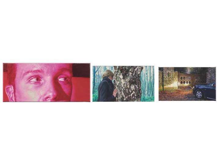 Robert Devriendt, cykl //La nuit gothique//, 2015, olej / płótno, 9,4 x 21,1 cm,  16,7 × 28,7 cm, 15,9 x 26,7 cm. Courtesy R. Devriendt