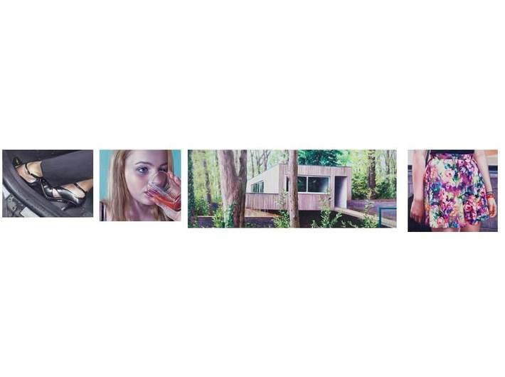 Robert Devriendt, cykl //Unsolved Case 8//, 2014, olej / płótno, 9,4 x 12,5 cm,  10,2 x 11,5 cm, 10,9 x 28,7 cm, 11,2 x 12,3 cm. Kolekcja prywatna