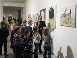 Warsztaty dla dzieci //Maski natury//, 13.3.2016, widoczne prace Dawida Czycza, wystawa //Artyści z Krakowa. Generacja 1980–1990//11