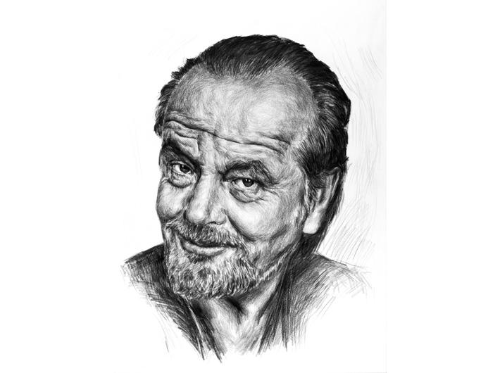 Tomasz Wiatr, //Jack Nicholson//, 2014, ołówek / papier, 59 × 42 cm. Courtesy of T. Wiatr