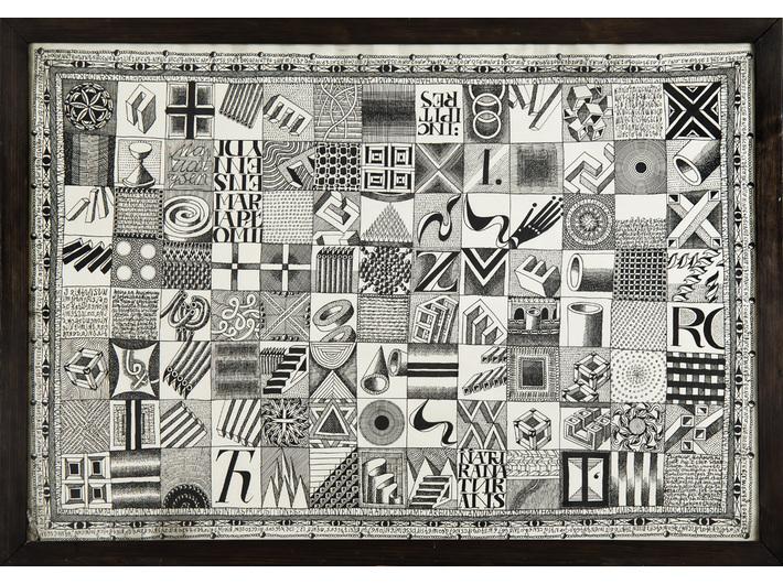 Zbigniew Makowski, //Ideogramy w kwadratach (Vitae Lampadae Traditae//), tusz / papier, 1967