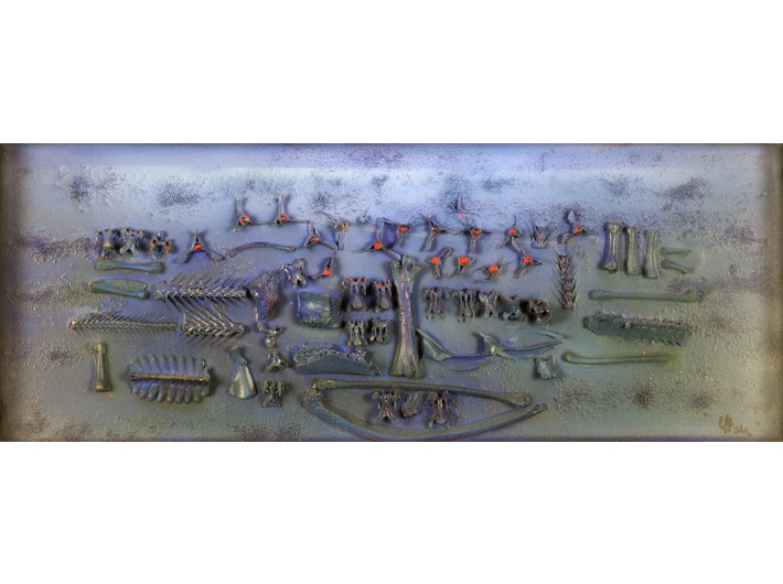 Jonasz Stern, //Kompozycja kobaltowa//, po 1970, kolaż / płótno, 23 × 57 cm, courtesy of J.J. Grabscy