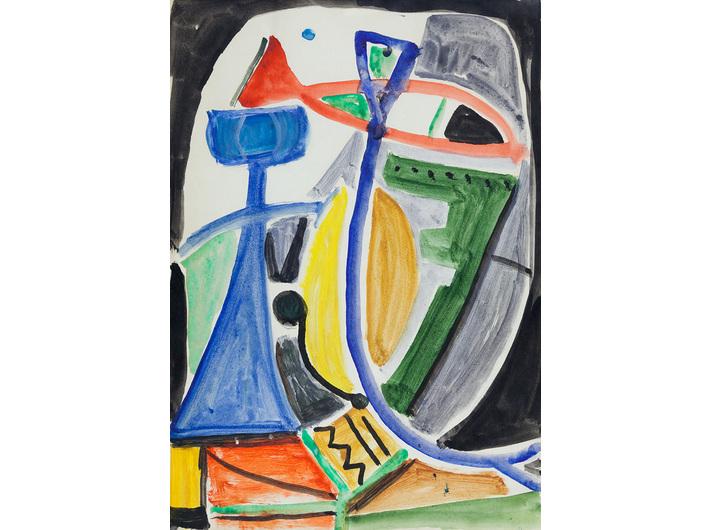 Jonasz Stern, //Kompozycja kolorowa z rybą//, 1948, akwarela / papier, 29,7 × 20,9 cm, courtesy of J.J. Grabscy