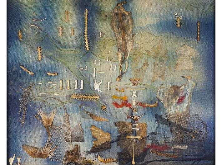 Jonasz Stern, //Scena podwodna//, 1969, kolaż / płótno, 67,5 × 83,3 cm, courtesy of J.J. Grabscy