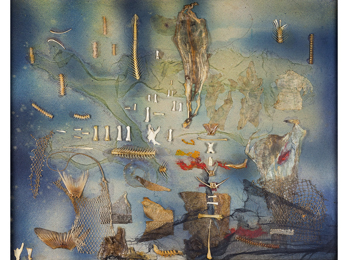 Jonasz Stern, //Underwater Scene//, 1969, collage/canvas, 67.5 × 83.3 cm, courtesy of J.J. Grabscy