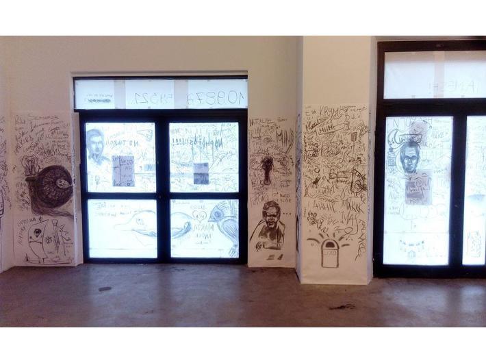 Księgarnia | Wystawa, przedstrzeń po performansie z udziałem Mateusza Świderskiego i Alisy Kobzar, fot. MUTRO Art: Alina Savarovska, Nastia Vorobiova