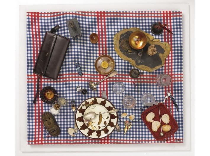 Daniel Spoerri, //False Snare-picture – Portrait of J.A.// (//Faux tableau piège – Porträt J. A.//), 2007, assemblage, 88 × 101 × 31 cm, courtesy of D. Spoerri, LEVY Galerie, Hamburg