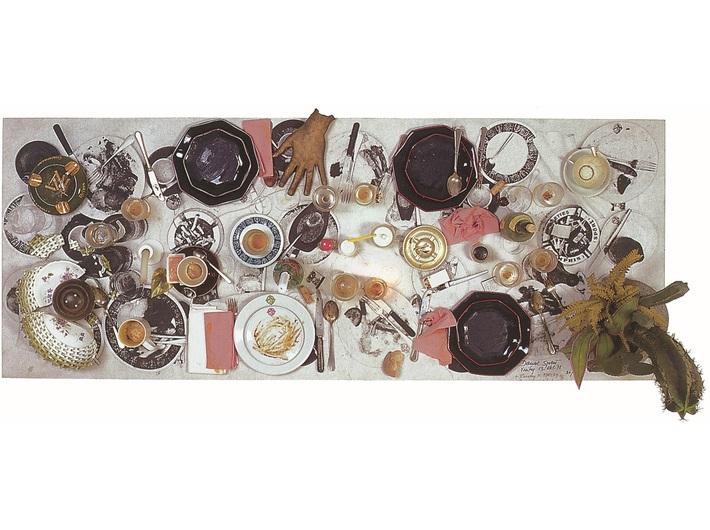 Daniel Spoerri, //Handschin Hammerausstellung//, 1978, assemblage, 75 × 194 × 80 cm, courtesy of D. Spoerri, LEVY Galerie, Hamburg