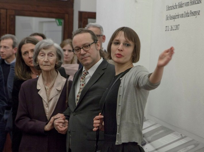 The opening of the exhibition //Literary Images of the Holocaust: The Passenger by Zofia Posmysz//, Center for Persecuted Arts in Art Museum in Solingen, photo: Adam Uryniak | Zofia Posmysz, Jürgen Kaumkötter, Magdalena Mazik
