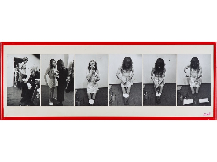 Jerzy Bereś, //Auction//, 1973, photographs from the performance, 35 × 99 cm, MOCAK Archive