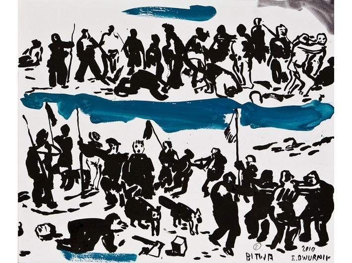 Edward Dwurnik, //Drawings for the painting// The Battle of Grunwald 2010, watercolour, pencil, ink / paper 46 × 65 cm each