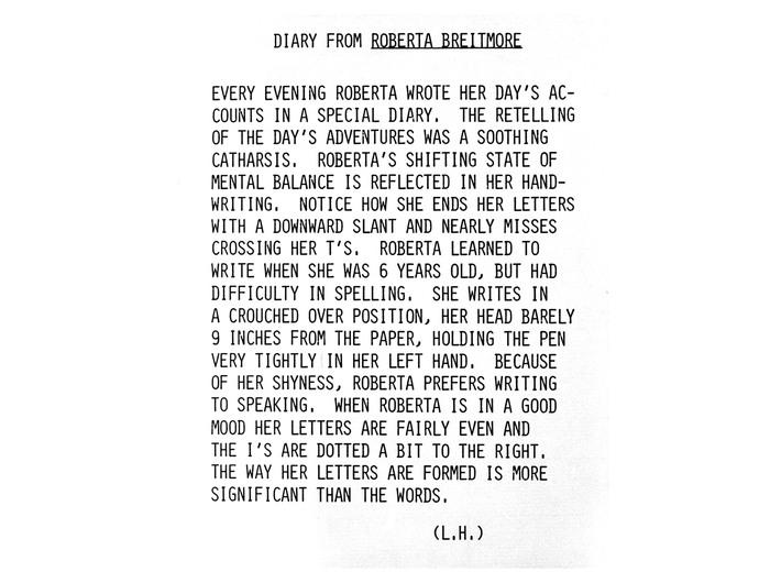 Lynn Hershman Leeson, Opis tego, jak Roberta pisała w pamiętniku, 1976, fotografia, odbitka srebrowa, dzięki uprzejmości Galerii Waldburger, Bruksela