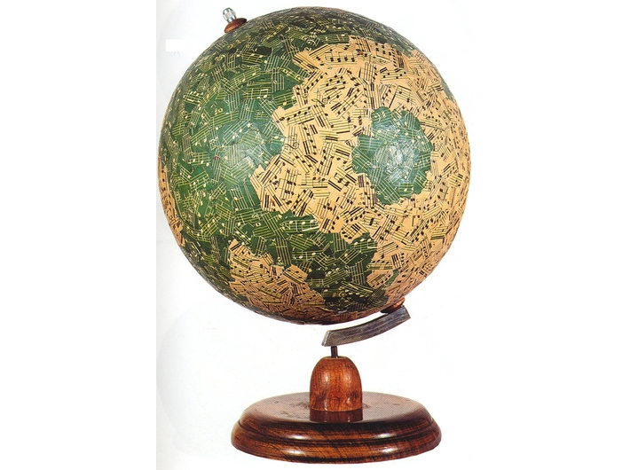 Jiří Kolář, //Globe (with Musical Notation)//, 1960s, collage item