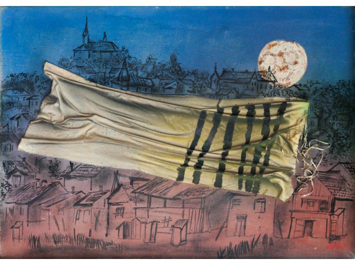 Jonasz Stern, //Kałusz w roku 1942//, 1988, technika mieszana, 50 × 70 cm, kolekcja prywatna