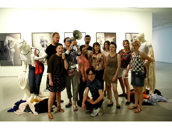 The MOCAK specialists with the works by  Léo Caillarda, //Art in Art// exhibition