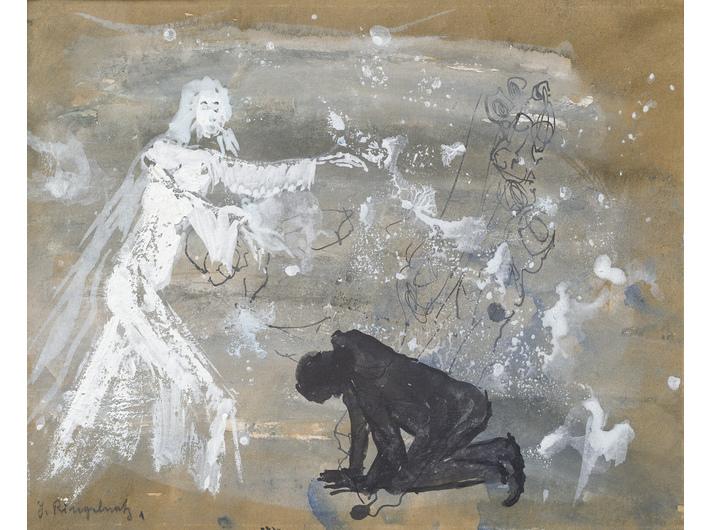 Ohne Titel, undatiert, Aquarell, Deckweiß, Tusche / Papier, 15,5 × 19 cm